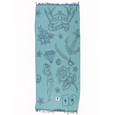 Ibicover-hamam-towel-hamamdoek-saunadoek-mannen-stoere-print-tattoo-blauw